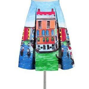 NWOT eShakti Canals of Venice Skirt